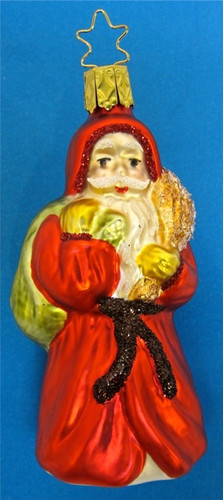 Santa Carrying Sack Glass Christmas Ornament