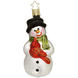 Snowman Friend Christmas Glass Ornament