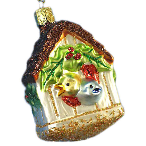 Christmas Holiday Bird House Glass German Ornament ORGA134X07