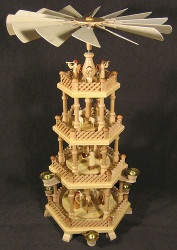 4 Level Natural Wood Nativity Christmas Pyramid PYD085X070