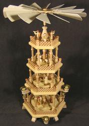 4 Level Natural Wood Nativity Christmas Pyramid PYD085X070