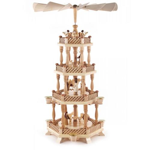 Level Natural Wood Nativity Christmas Pyramid