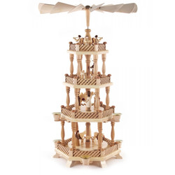 Level Natural Wood Nativity Christmas Pyramid
