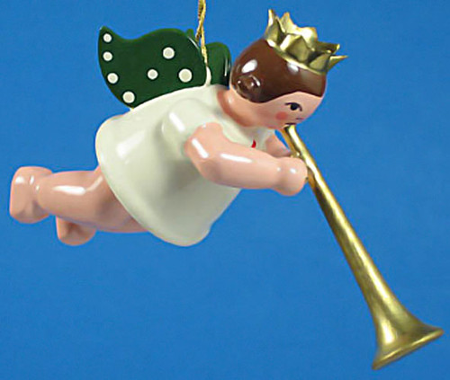 Ceremonial Horn Angel Christmas Hanging German Ornament