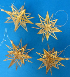 Four Natural Wooden Stars German Ornaments ORD199X328