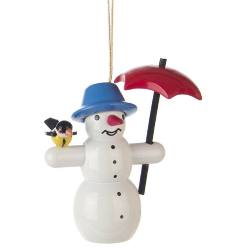 Snowman Umbrella Bird Christmas German Ornament