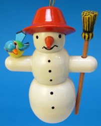 Snowman Broom Bird Christmas German Ornament ORD199X319X1R
