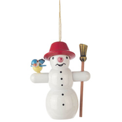 Snowman Broom Bird Christmas German Ornament