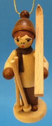 Natural Holiday Sports Children German Ornament Carrying Skis ORD199X068NCK
