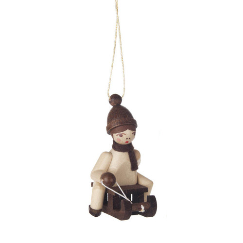 Natural Holiday Children German Ornament Sled