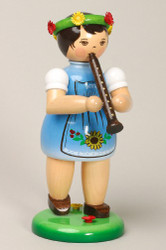 Blue Girl Playing Recorder