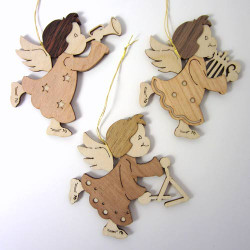 Set 3 Wooden German Christmas Angel Ornaments ORD199X476