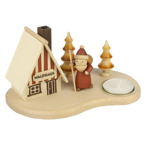 Wooden Natural Cabin German Smoker Candleholder SMD146X1642