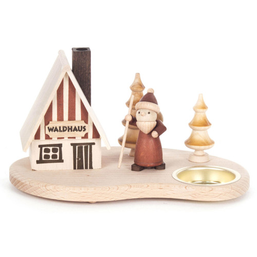 Wooden Natural Cabin German Smoker Candleholder SMD146X1642