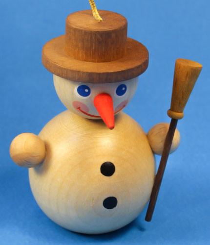 Natural Mini Snowman Snowball German Ornament ORR135X63