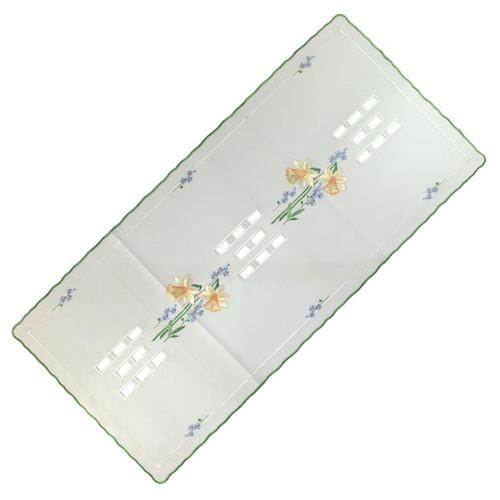 German Linen Daffodils Square Doily LNNARZISSEN40X86