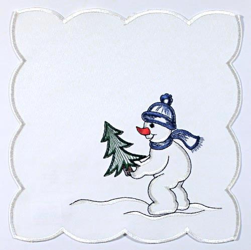 German Linen Snowman Square Table Doily LNSNMAN23X23