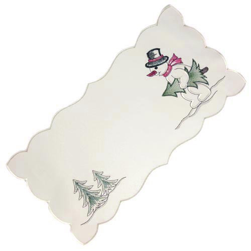 German Linen Snowman Table Runner LNSNMAN23X46