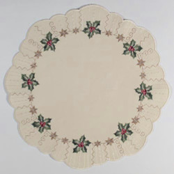 German Linen Holiday Christmas Holly Round LNSTECHPALME36R