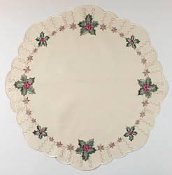 German Linen Holiday Christmas Holly Round LNSTECHPALME46R