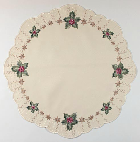 German Table Topper Holiday Christmas Holly Round LNSTECHPALME46R