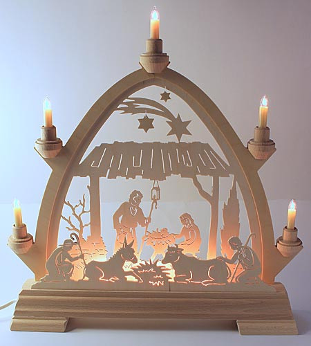 Family christmas schwibbogen arch for Arch candle christmas decoration
