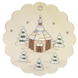 German Village Church Christmas Linen LNDORFKIRCH35RND