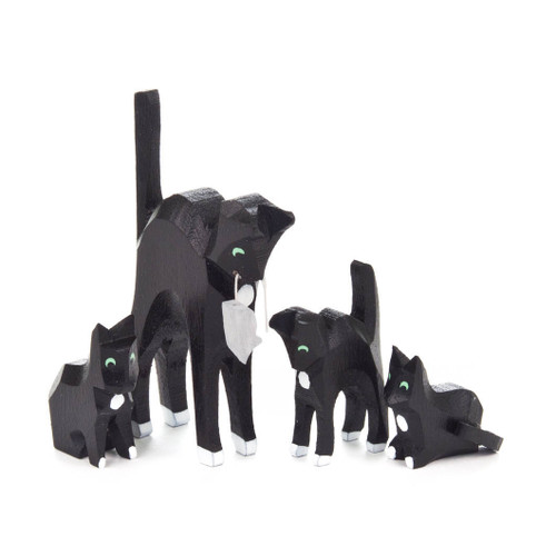 Wooden Black Cats German Hand Carved Figurine Four Set