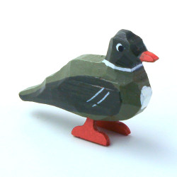 Green Duck Hand Carved Wooden German Figurine