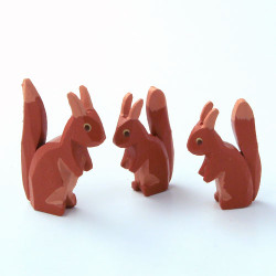 Squirrels Hand Carved Wooden German Figurine Set Three 1 inch to 1/2 inch