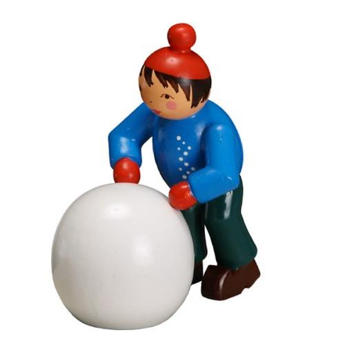 Boy Pushing Large Snowball
