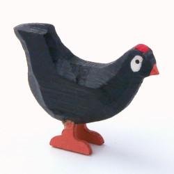 Black Hen Hand Carved Wooden German Figurine