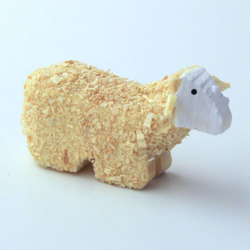 Wooden German Figurine Sheep Laying
