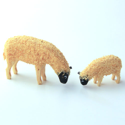 Wooden German Figurine Two Sheep LG Med