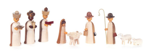 Nativity Set Wooden German Figurine Creche Natural