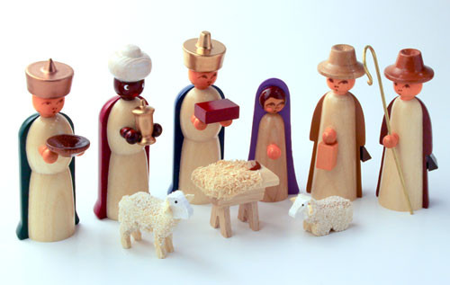 Wooden Nativity German Figurine 9 Piece Set Colored