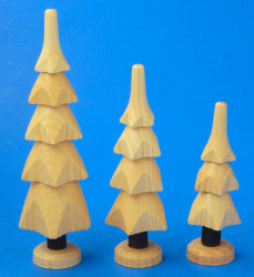 Wooden German Natural Trees Set of Three