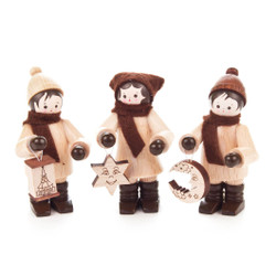 Wooden German Kids Holding Ornament Figurines Set of 3