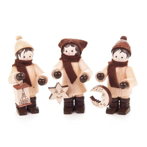 Wooden German Kids Holding Ornament Figurines Set of 3