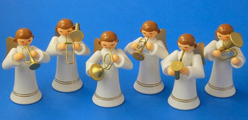 Wooden German Musical Angels Figurines White Set of Six