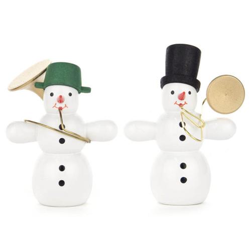 Wooden German Musician Snowmen Set of Two Figurines