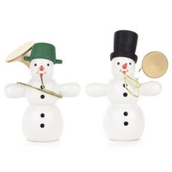 Wooden German Musician Snowmen Set of Two Figurines
