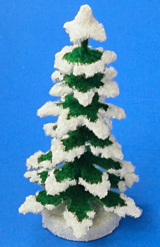 Wooden German Green White Snow Tree Figurine 92mm