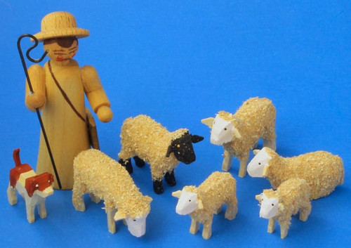 Shepherd Sheep Handmade Wooden German Figurines Set of 8