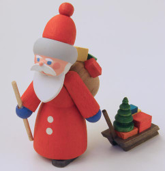 Wooden German Santa Handmade Figurine with Sled