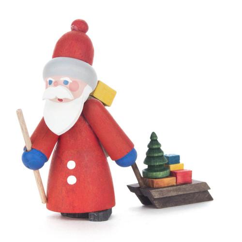Wooden German Santa Handmade Figurine with Sled