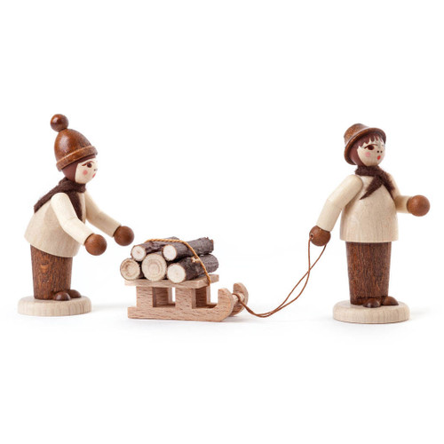 Wooden German Forest Kids Figurine with Sled Handmade