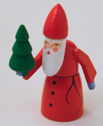 Wooden German Santa Carrying Tree Handmade Figurine