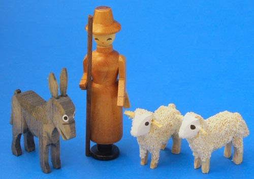 Wooden German Shepard Donkey Sheep Figurines