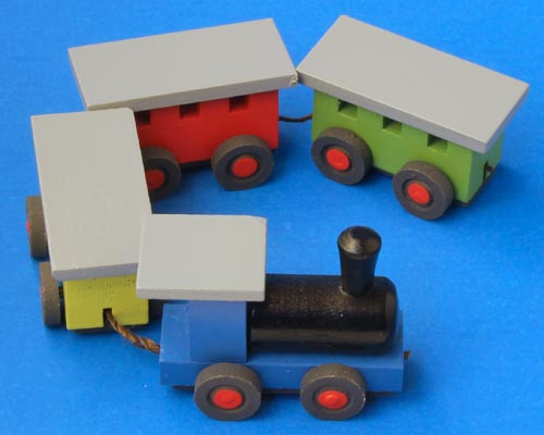 Wooden German Train Figurine Colorful 30mm